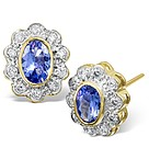TANZANITE 6 X 4MM AND DIAMOND 18K GOLD EARRINGS