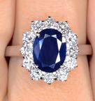 Sapphire 2.30ct And Diamond 1.00ct 18K White Gold Ring