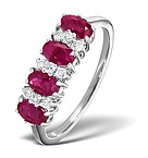 RUBY & 0.14CT DIAMOND RING 9K WHITE GOLD