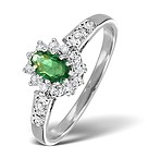 EMERALD 5 X 3MM AND DIAMOND 18K WHITE GOLD RING