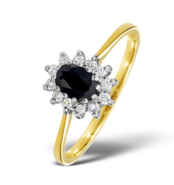 SAPPHIRE 6 X 4MM AND DIAMOND 9K GOLD RING.