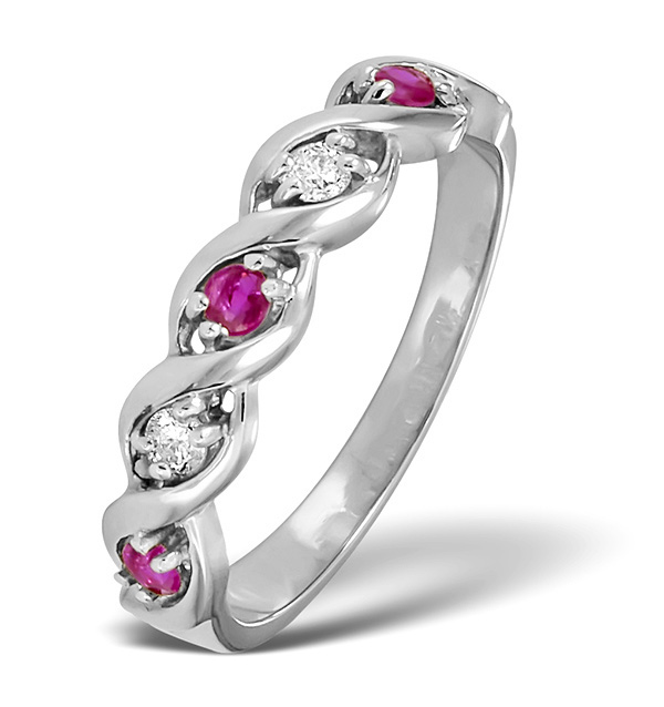 RUBY 0.20CT AND DIAMOND 9K WHITE GOLD RING