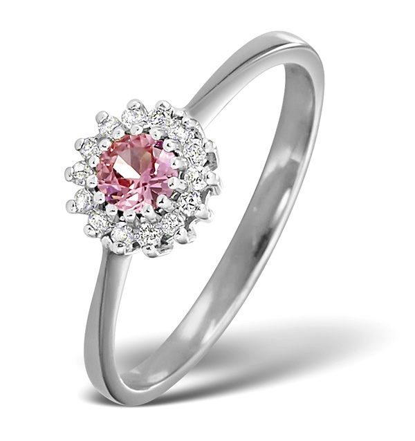 PINK SAPPHIRE AND 0.07CT DIAMOND RING 9K WHITE GOLD